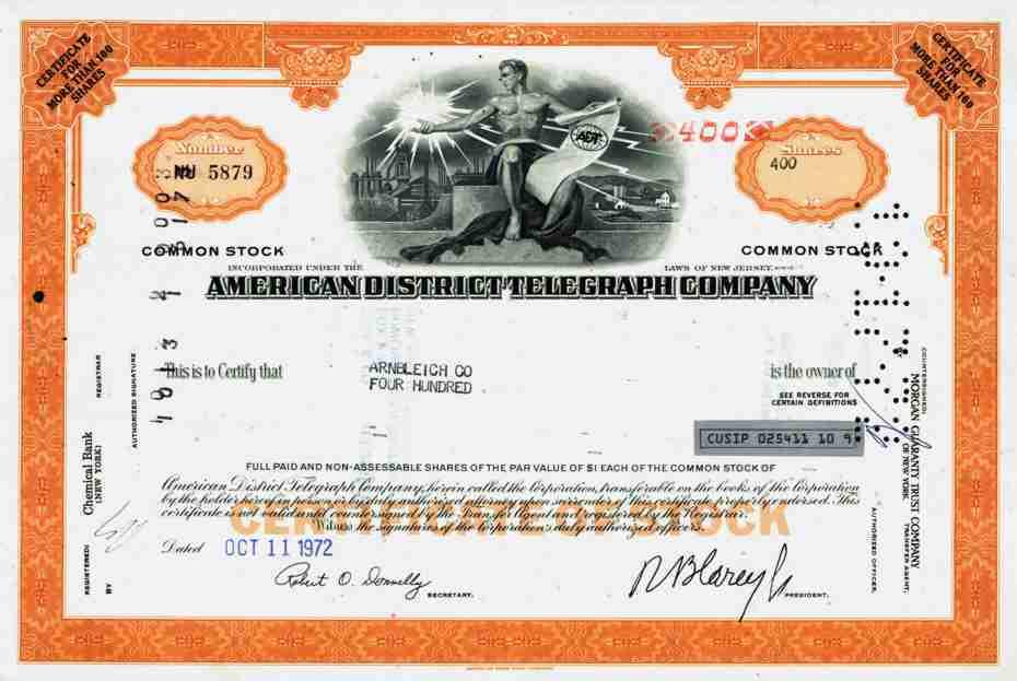 American District Telegraph Stock Exchange Messenger